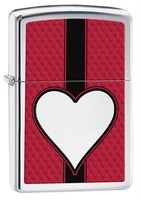 Zippo Red Heart Lighter, High Polish Chrome
