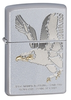 Image Zippo Eagle Lighter, Satin Chrome